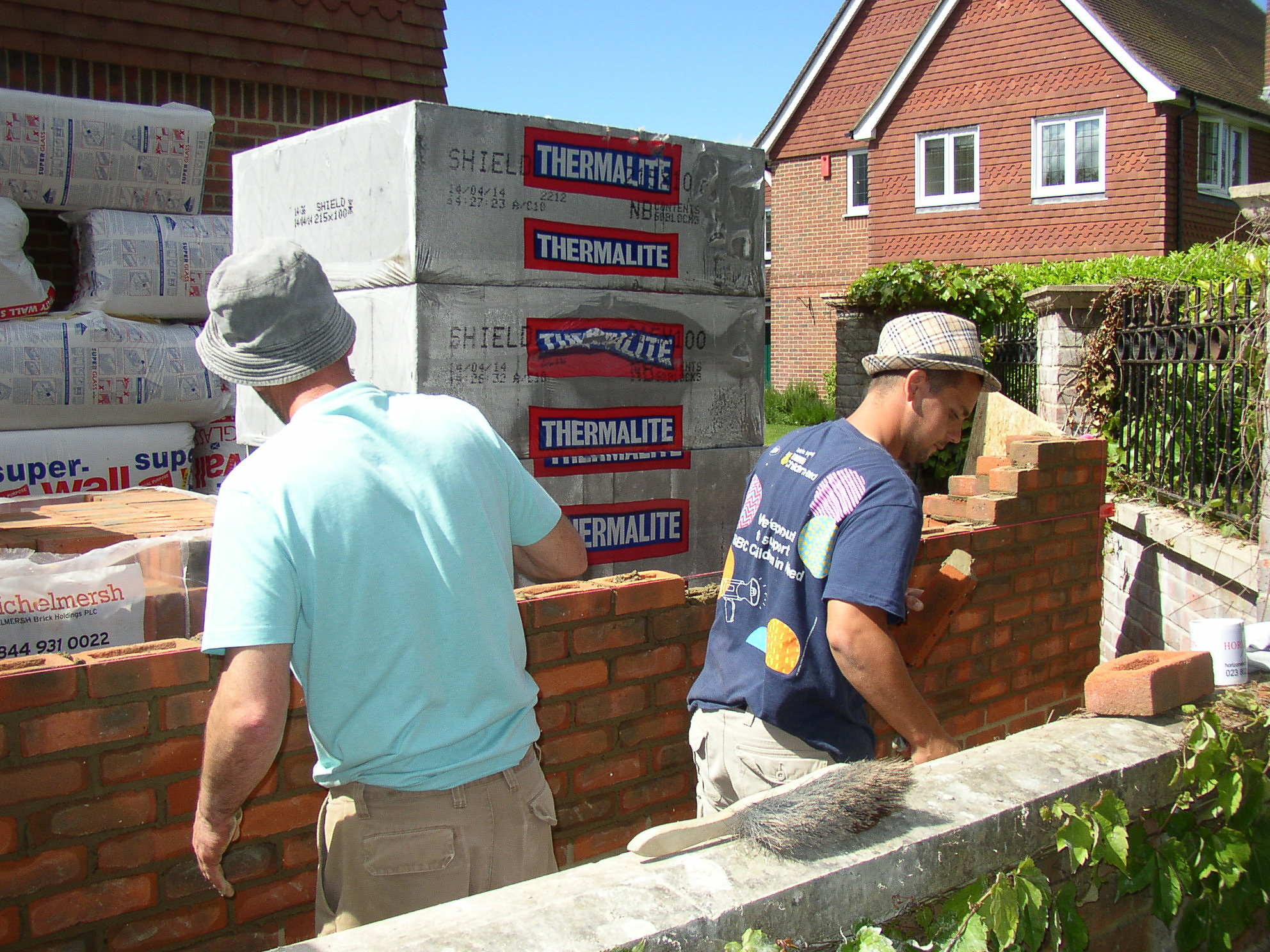 builders working on site