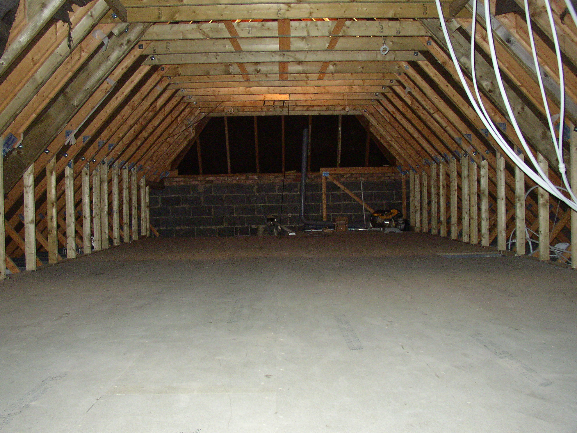 Loft with the truss rafters removed