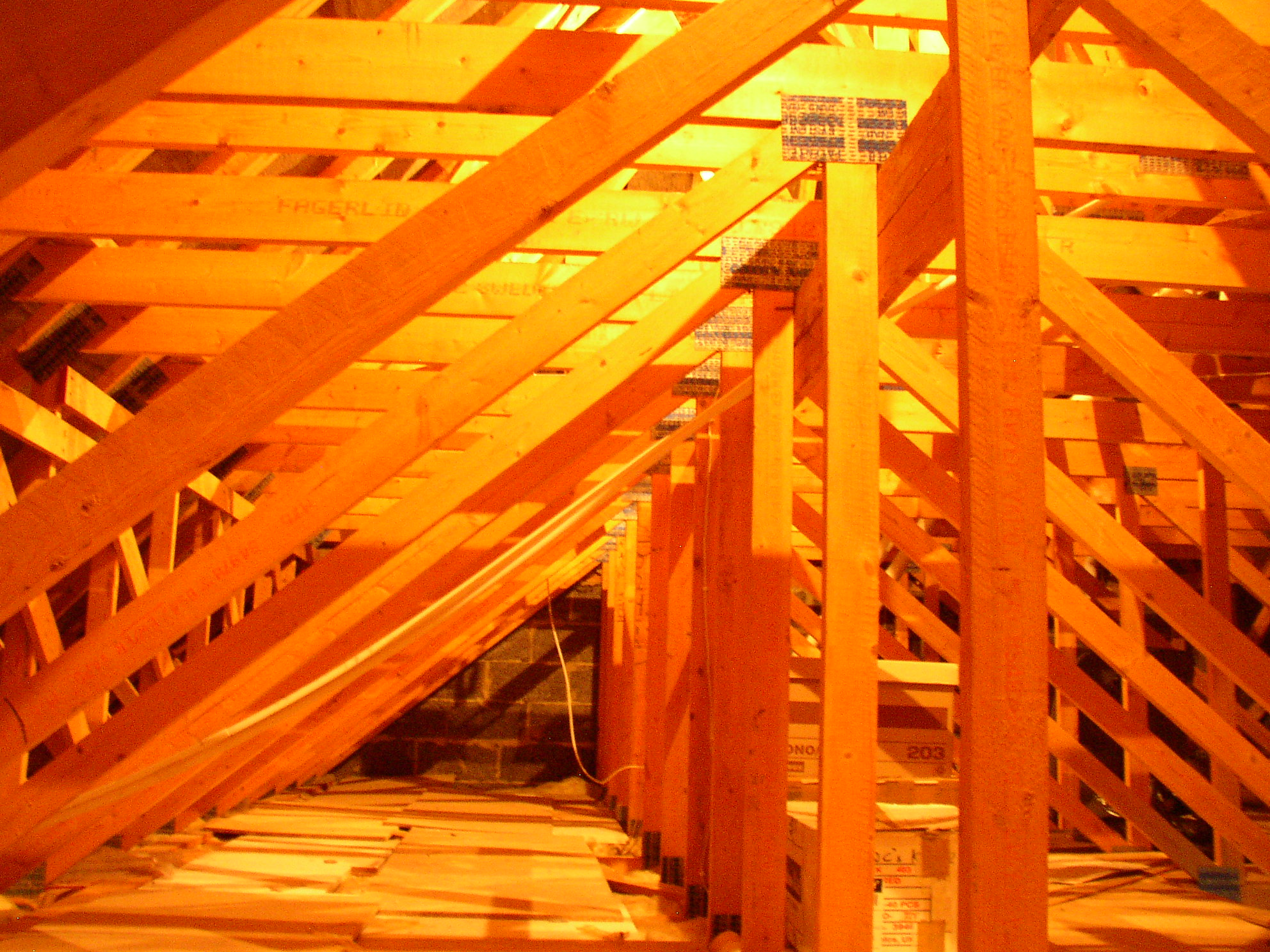 Roof with truss rafters
